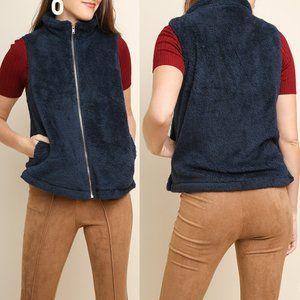 Navy Fuzzy Knit Vest {Umgee USA}